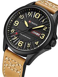 Men's Fashion Watch Quartz Leather Band Khaki