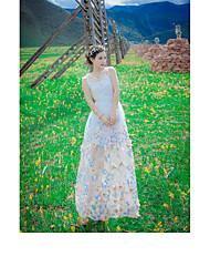 Damen Hülle Kleid-Lässig/Alltäglich Druck Rundhalsausschnitt Maxi Ärmellos Seide Sommer Mittlere Hüfthöhe Mikro-elastisch Dünn