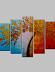 Hand-Painted Modern Tree & Plants Oil Painting Five Panel Canvas Oil Painting Multi Split Oil Painting