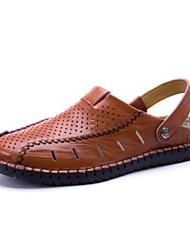 Men's Sandals Summer Comfort Cowhide Outdoor Casual Flat Heel Dark Brown Light Brown Black