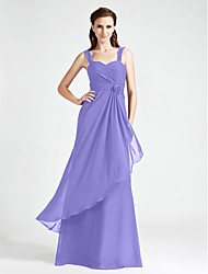 A-Line Princess Sweetheart Straps Floor Length Chiffon Bridesmaid Dress with Flower(s) Criss Cross Ruching by LAN TING BRIDE®