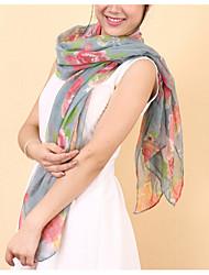 Women Rose  Scarf Shawl Thin Long Rectangle Beach UV Sunscreen Bohemia Retro Print Scarves