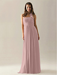 LAN TING BRIDE Floor-length Chiffon Bridesmaid Dress - A-line Halter Plus Size / Petite
