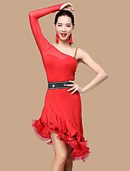 Wir werden Latin Tanz Kleider Frauen Polyester 2 Stück Tanz Kostüm