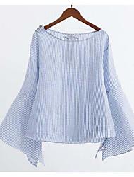Damen Gestreift Einfach Ausgehen T-shirt,Rundhalsausschnitt Langarm Polyester