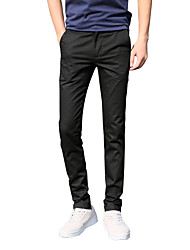 Men's Mid Rise Inelastic Chinos Business Pants,Vintage Simple Street chic Straight Slim Solid