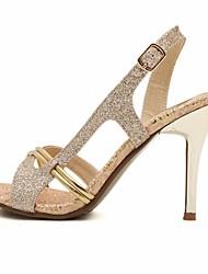 Damen-Sandalen-Lässig-PU-Blockabsatz-Fersenriemen-Gold