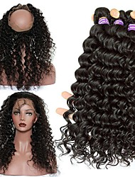 8A 360 Lace Frontal Closure With 3 Bundles Deep Wave Brazilian Virgin Hair 360 Lace Band with Cap