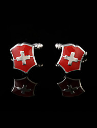 Men's Metal Vintage Red Cross Cuff Links Wedding Gift Jewelry Men French Cufflinks Shirt Suit  Cuffs Sleeve Buttons