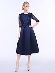 A-ligne jewel neck teint longueur robe de demoiselle d'honneur avec arc (s)