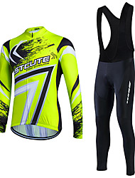 Cycling Jersey with Bib Tights Men's Long Sleeve Bike Clothing SuitsBreathable Lightweight Materials 3D Pad Back Pocket Sweat-wicking