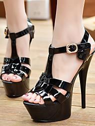 Damen-High Heels-Lässig-PUFersenriemen-Weiß Schwarz Rot