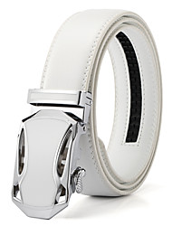 Men's White Solid Buckle with Automatic Ratchet Leather Belt 35mm Wide 1 3/8