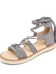 Damen-Sandalen-Lässig-Mikrofaser-Flacher Absatz-Gladiator-