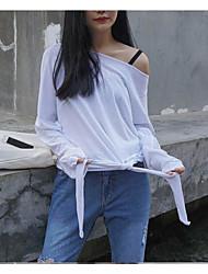 Tee-shirt Femme,Couleur Pleine Sortie simple Printemps Eté Manches Longues Bateau Rayonne Fin