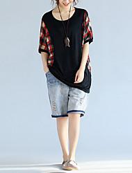 Damen Druck Einfach Lässig/Alltäglich T-shirt,Rundhalsausschnitt ½ Länge Ärmel Polyester