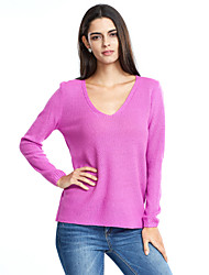 Women's Casual/Daily Sexy Simple Regular Pullover,Solid Pink White Beige Gray Green Purple V Neck Long Sleeve Acrylic Fall Winter Medium