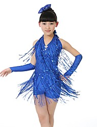 Latin Dance Dresses Kid's Performance Spandex 3 Pieces Sleeveless Half Sleeve Natural Dress Bracelets