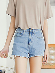 Women's High Rise Micro-elastic Jeans Shorts Pants,Slim Solid