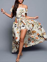 Ample Robe Femme SortieFleur Bateau Maxi Manches Courtes Polyester Eté Taille Normale Micro-élastique Moyen