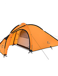 3-4 persons Tent Double Fold Tent One Room Camping Tent Aluminium Nylon Silicone Foldable Portable-Camping Outdoor-Orange