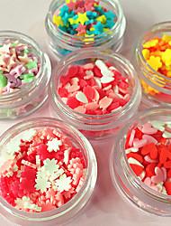 6 boîtes / set argile gâteau spectre amour fleur de prune fleur ongle diy wafer accessoires décoratifs