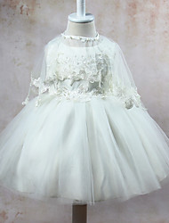 Ball Gown Knee-length Flower Girl Dress - Polyester Satin Tulle Jewel with Beading Appliques Bow(s) Sash / Ribbon Ruffles