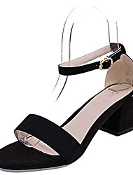 Women's Sandals Club Shoes PU Spring Summer Dress Party & Evening Club Shoes Rhinestone Buckle Chunky Heel Black Blushing Pink 3in-3 3/4in