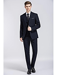 Navy Blue Solid colour Single Breasted Two-buttons Closure collar  Three-Pieces Slim Fit Suit