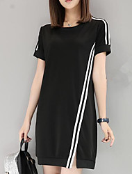 Women's Going out Casual/Daily Sexy Street chic Shift Dress,Striped Round Neck Above Knee Short Sleeve Polyester Spring Summer Mid Rise