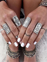 Ring Jewelry Euramerican Fashion Personalized Chrome Irregular Silver Rings For Daily Casual 1 Set Wedding Gifts