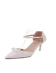 Women's Heels Spring Summer Club Shoes Comfort Leatherette Dress Casual Stiletto Heel Bowknot Buckle Blushing Pink Beige White Walking