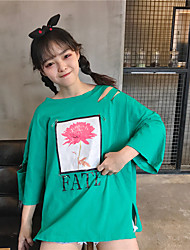 Tee-shirt Femme,Imprimé Décontracté / Quotidien simple Manches ¾ Col Arrondi Coton