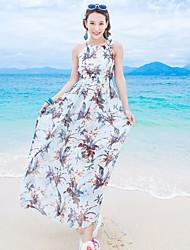 Damen Swing Kleid-Strand Blumen Halter Maxi Ärmellos Seide Sommer Mittlere Hüfthöhe Mikro-elastisch Dünn