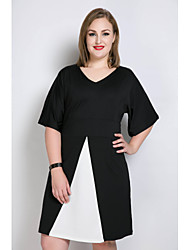 Really Love Women's Plus Size Casual/Daily Party Sexy Simple Cute A Line Loose T Shirt Dress,Color Block V Neck Midi ½ Length Sleeve Spandex
