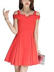 Women's Going out Party Sexy Street chic Fashion Slim Thin A Line Dress Patchwork Strap Above Knee Cotton /Polyester Summer High Waist
