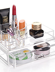 Acrylic Transparent Complex Combined Large Capacity Double 2 Layer Makeup Brush Pot Cosmetics Storage Stand Drawer Cosmetic Organizer Box 2PCS Set