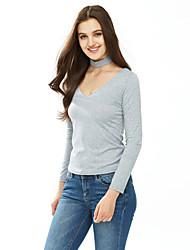 T-shirt Da donna Formali / Per uscire / Casual Sensuale / Romantico Autunno / Inverno,Tinta unita Rotonda Cotone Bianco / Nero / Grigio