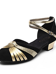 Customizable Women's/Kids' Dance Shoes for Latin/Salsa with Chunky HeelGlitter/Red-Gold/Black-Gold