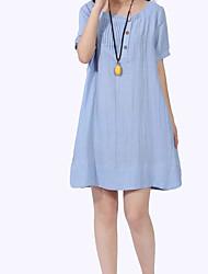 Feminino Solto Vestido,Para Noite Casual Simples Boho Sólido Decote Redondo Acima do Joelho Manga Curta Linho Verão Cintura Média