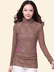 Damen Stickerei Anspruchsvoll Lässig/Alltäglich T-shirt,Rollkragen Langarm Nylon