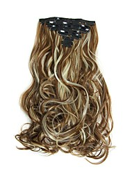 Hairpiece 17inch 160g 16 Clips 7pcst Synthetic Hair Extension Long Wavy Hair Clip In Hair Extensions Heat Resistant D1016 6H613#