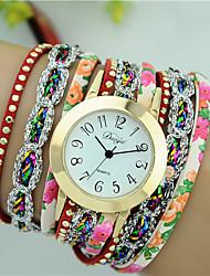 Women's Fashion Bracelet Watch Quartz PU Band Flower Brand