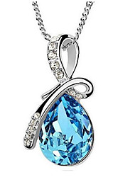 Austrian Crystal Necklace - Tears of Angels Female Drop Pendant Sweater Chain Necklace  Office Lady Jewelry for Women Gift
