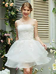 A-line Strapless Short/Mini Organza Satin Wedding Dress with Appliques