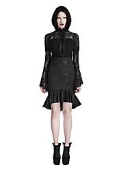 Femme Sexy Vintage Punk & Gothic Taille Haute Au dessus des genoux Jupes,Moulante Trompette/Sirène Dentelle Volants Couleur Pleine Imprimé