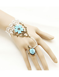Women's Girls´ Bangles Ring Bracelet Natural Friendship Gothic Handmade Alloy Flower Leaf White Jewelry ForWedding Party Special Occasion