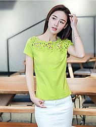 Tee-shirt Femme,Couleur Pleine Décontracté / Quotidien simple Manches Courtes Col Arrondi Coton Fibre de bambou Spandex