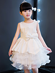Princess Knee-length Flower Girl Dress - Cotton Tulle Jewel with Ruffles