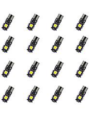 Decodificação do quadro de 20pcs t10 5 * 5050smd levou a luz morna do bulbo da luz do carro dc12v